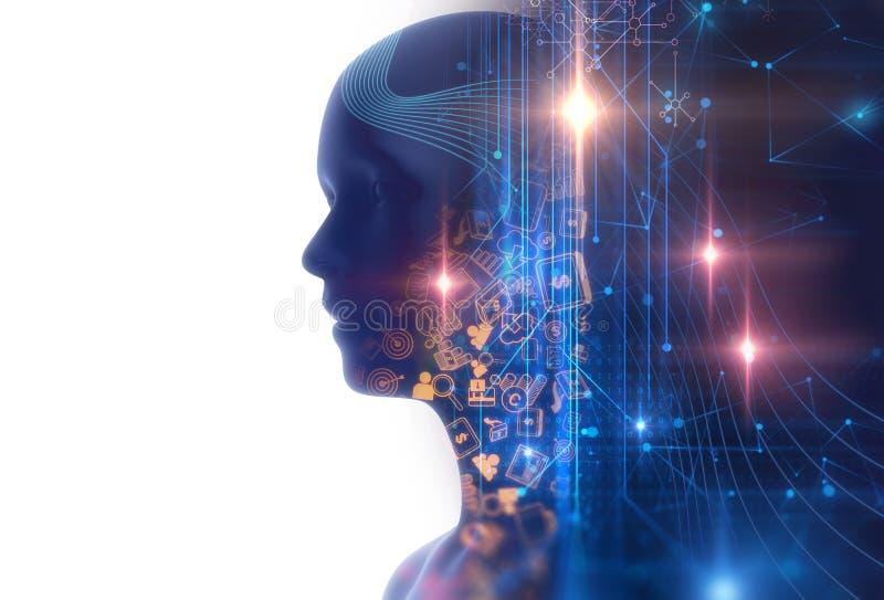 Image de double exposition d'illustration virtuelle de l'humain 3d illustration libre de droits