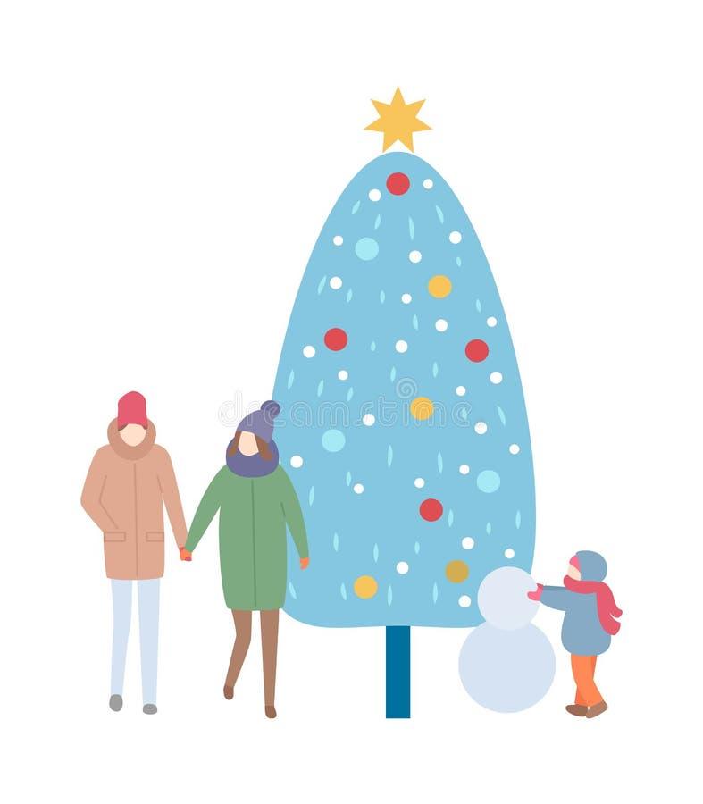 Image de famille d'hiver avec le vecteur d'arbre et de bonhomme de neige illustration libre de droits