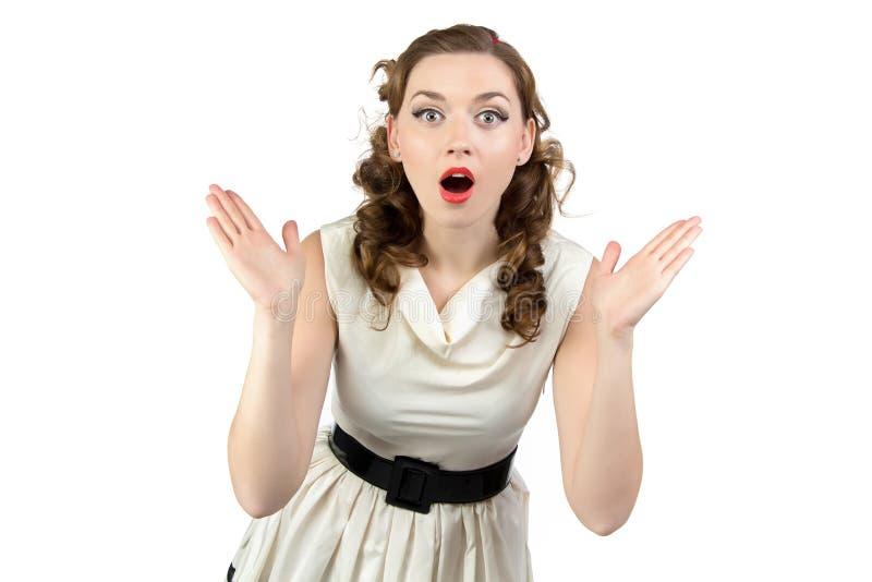 Image de femme étonnée avec la bouche ouverte photo stock