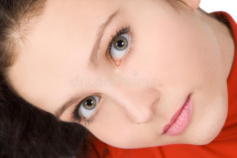 Image de fin de sourire de visage de jeune femme  photographie stock
