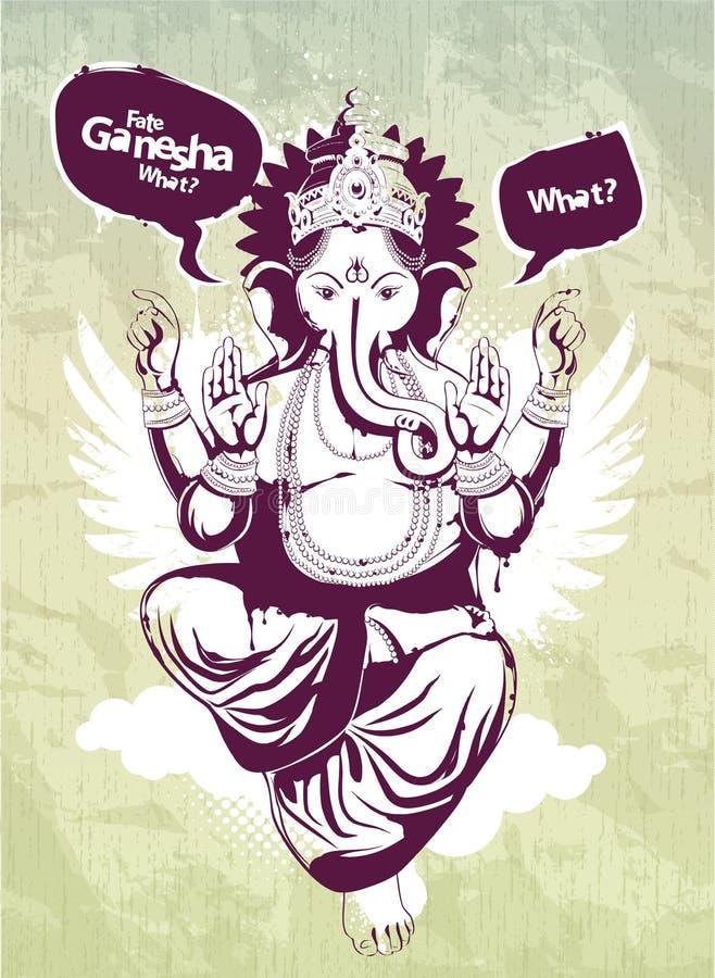 Image de graffiti avec l'idole indien Ganesha illustration de vecteur