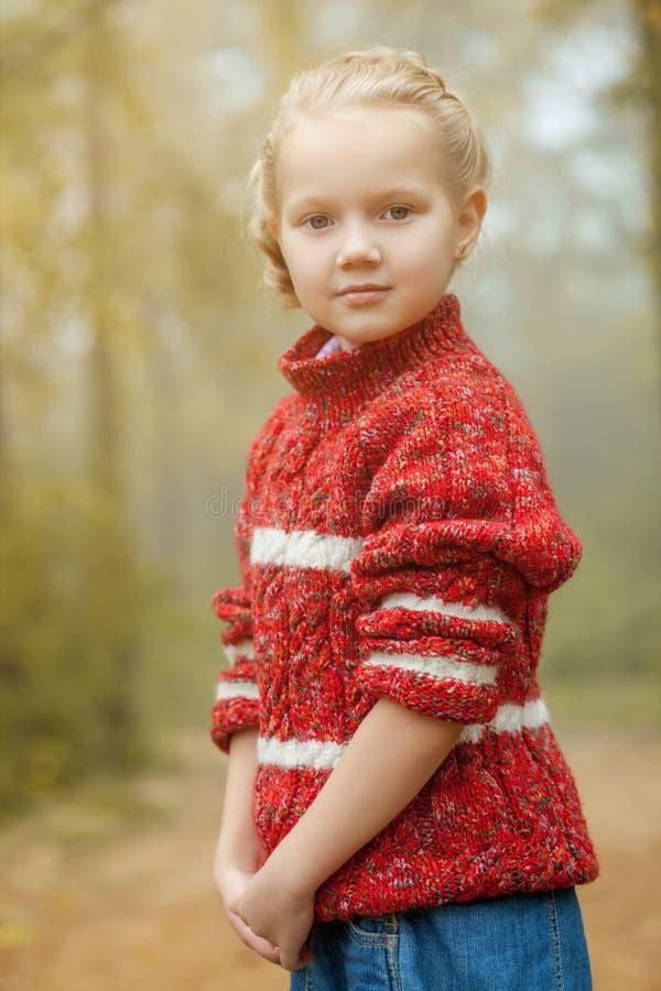 Image de la fille assez petite posant dans le chandail rouge images stock