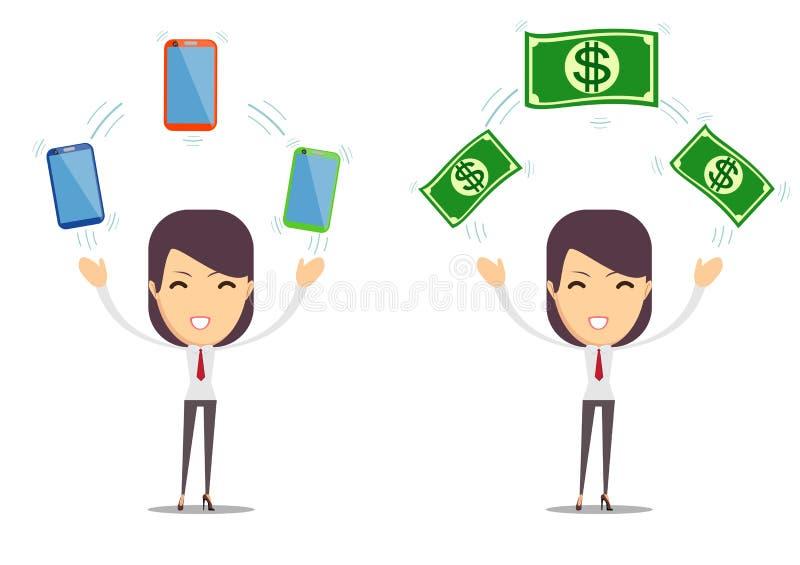 Image de la jeune dame enthousiaste d'isolement au-dessus du fond montrant le téléphone portable et l'argent illustration de vecteur