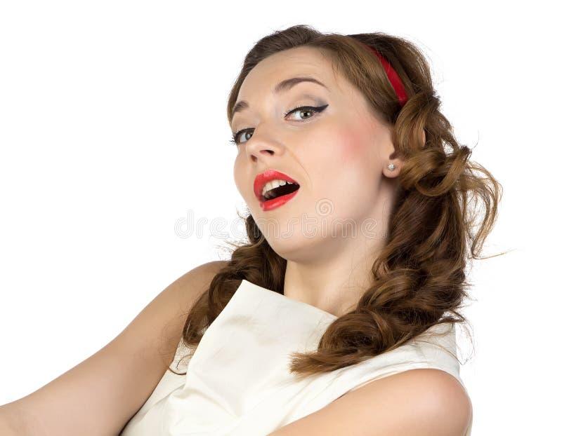 Image de la jeune femme avec la bouche ouverte photo libre de droits