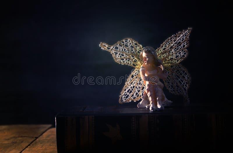 image de la petite fée magique s'asseyant sur le vieux livre d'histoire images stock