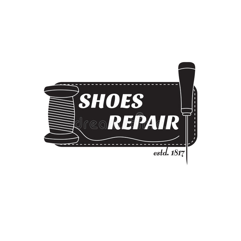 image de logo des services des réparations de chaussure Concept pour la réparation d'atelier illustration stock