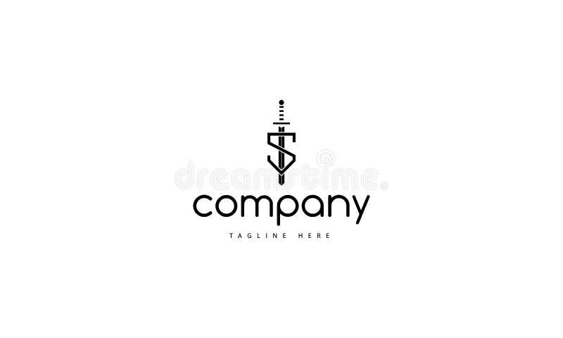Image de logo de vecteur de bouclier de lettre de S illustration libre de droits