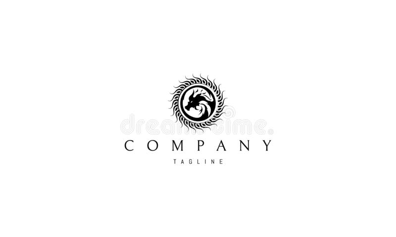Image de logo de vecteur de dragon de Sun illustration stock