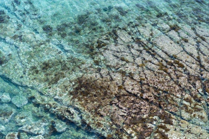 Image de mer avec de l'eau clair avec les traces inférieures photo stock