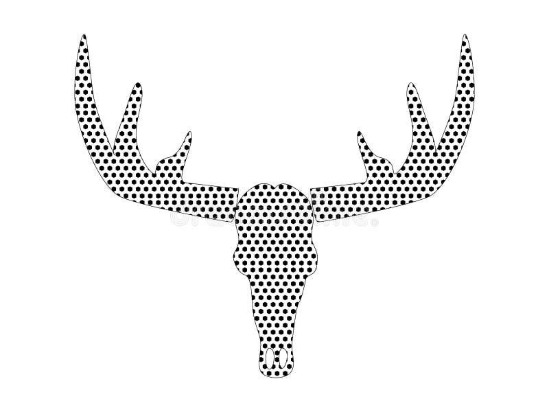 Image de modèle pointillé d'un trophée d'andouillers de cerfs communs illustration de vecteur