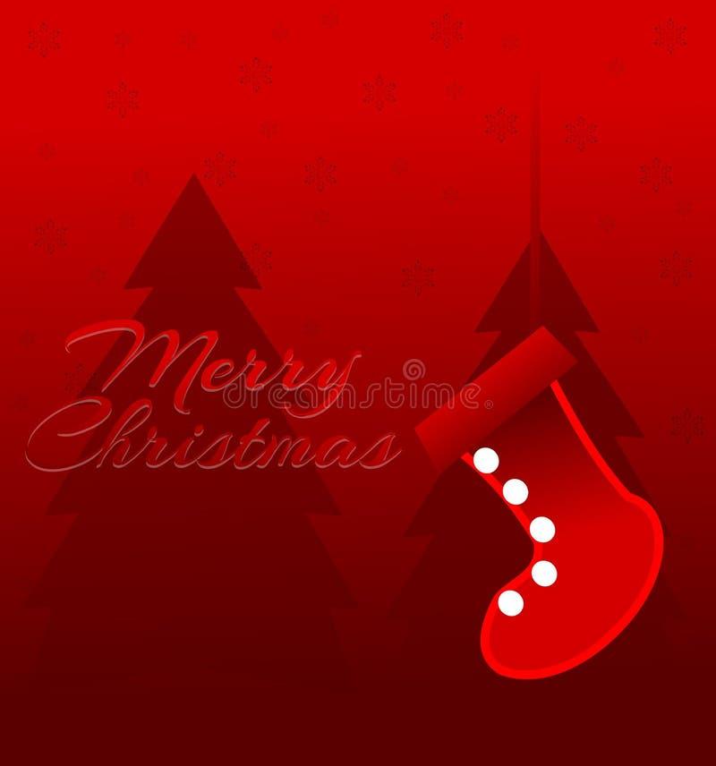 Image de Noël avec des arbres et des bas stylisés Carte de voeux Noël Rouge et blanc illustration stock