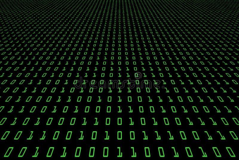 Image de perspective de fond fonc? de technologie ou noir num?rique avec le code binaire dans la couleur vert clair 1001 illustration de vecteur
