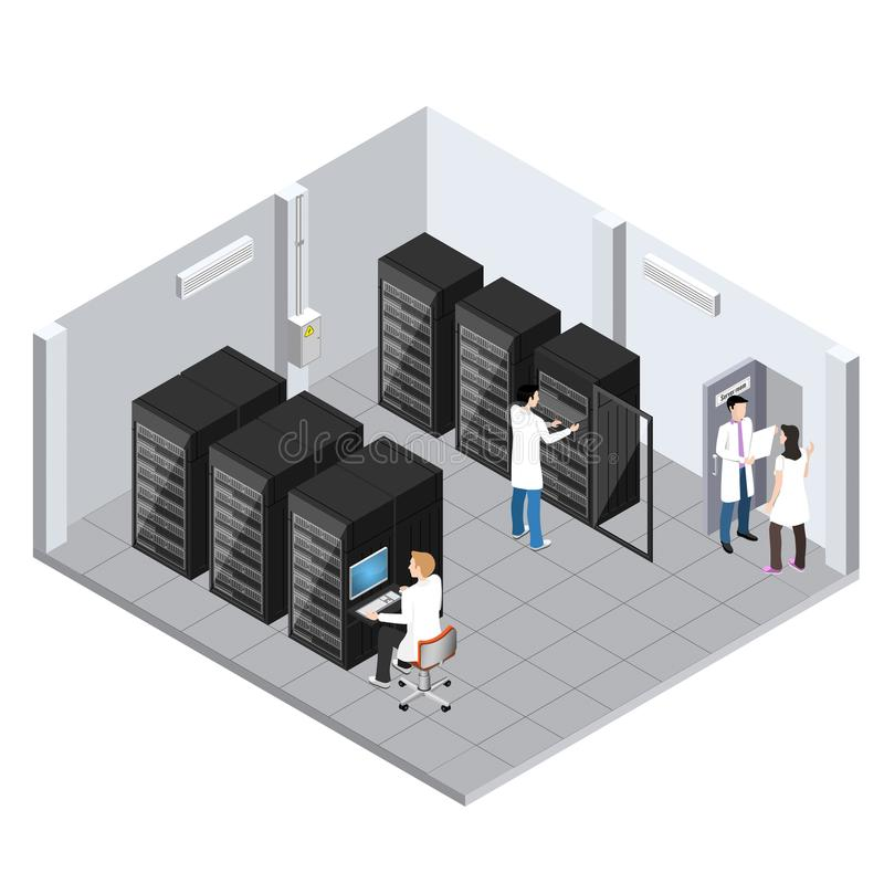 Image de pièce de serveur, stockage de l'information et salle de traitement isométriques illustration stock