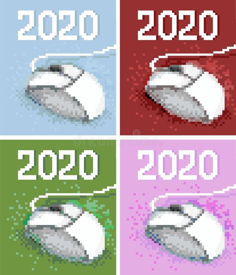 Image de pixel vectoriel du dessin - souris d'ordinateur 2020 illustration libre de droits