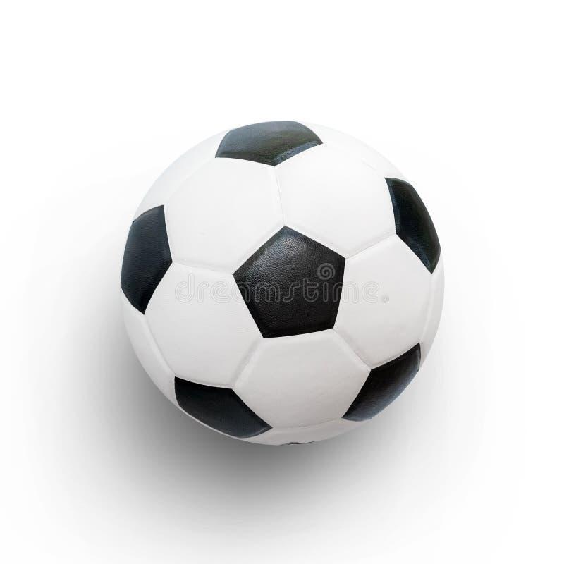 Image de plan rapproché de ballon de football Bille de football d'isolement sur le fond blanc image stock