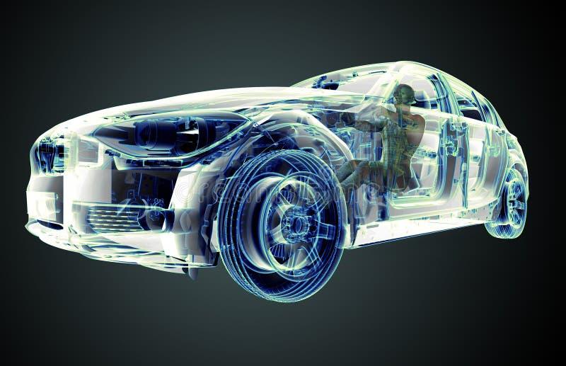Image de rayon X d'une voiture avec le conducteur d'essai illustration libre de droits