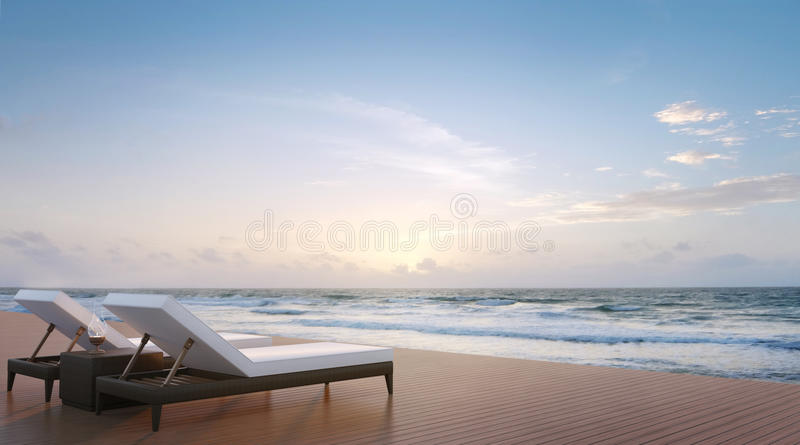 Image de rendu de terrasse et de lit pliant 3d de côté de mer illustration stock