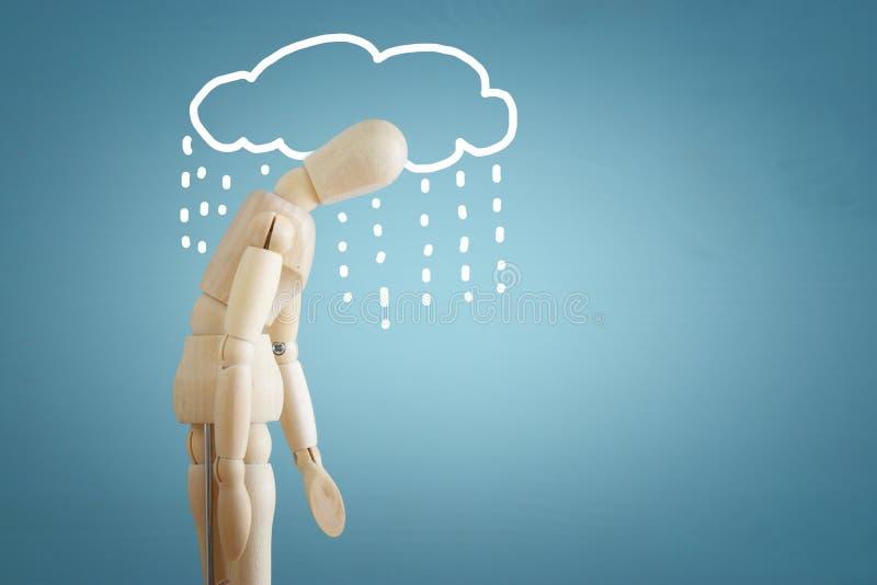 image de simulacre en bois avec des pensées soumises à une contrainte inquiétées dépression, obsessionnelle, adhd, concept de tro photo stock