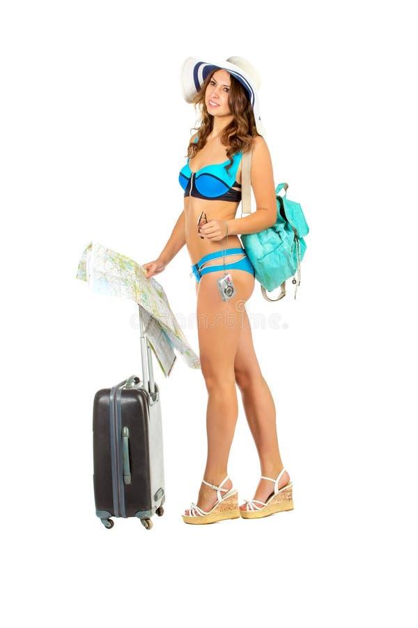 Image de studio de jeune femme avec du charme dans un bikini image libre de droits