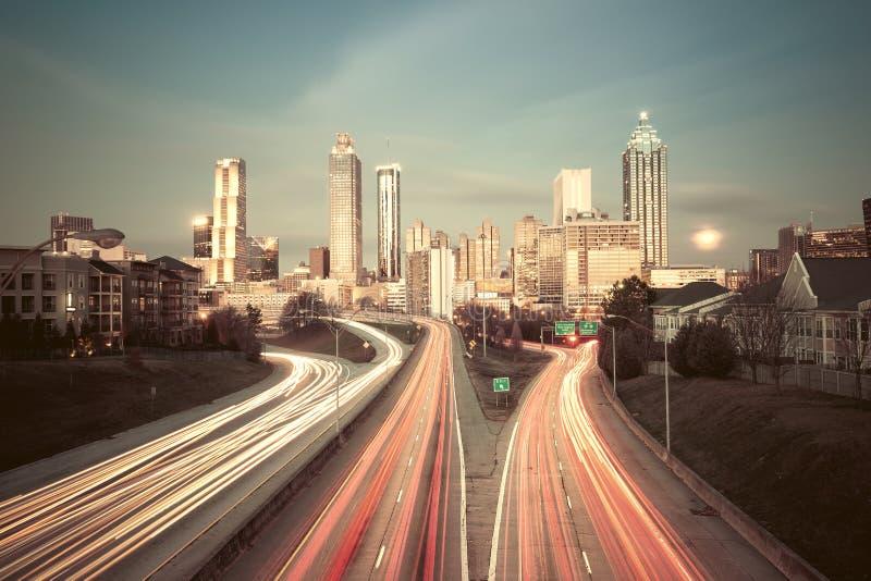Image de style de vintage d'horizon d'Atlanta image libre de droits