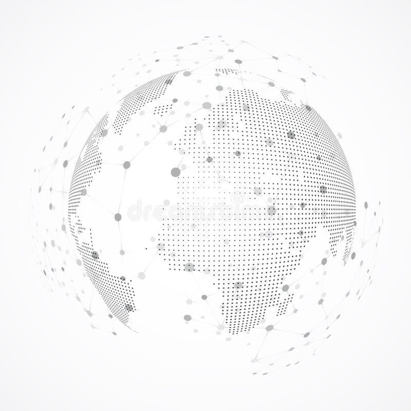 Image de technologie de globe Le point et la courbe ont construit la sphère illustration stock
