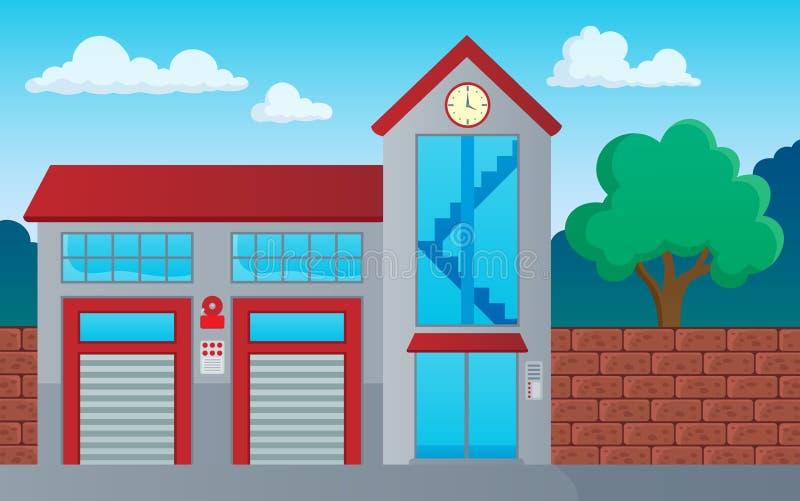 Image 1 de thème de bâtiment de corps de sapeurs-pompiers illustration stock