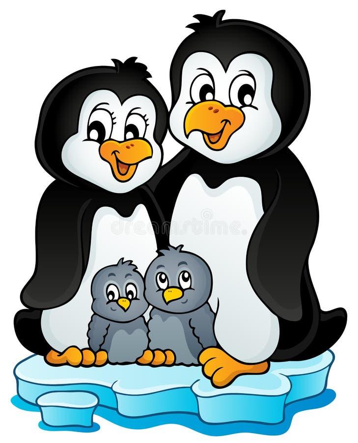Image 1 de thème de famille de pingouin illustration stock
