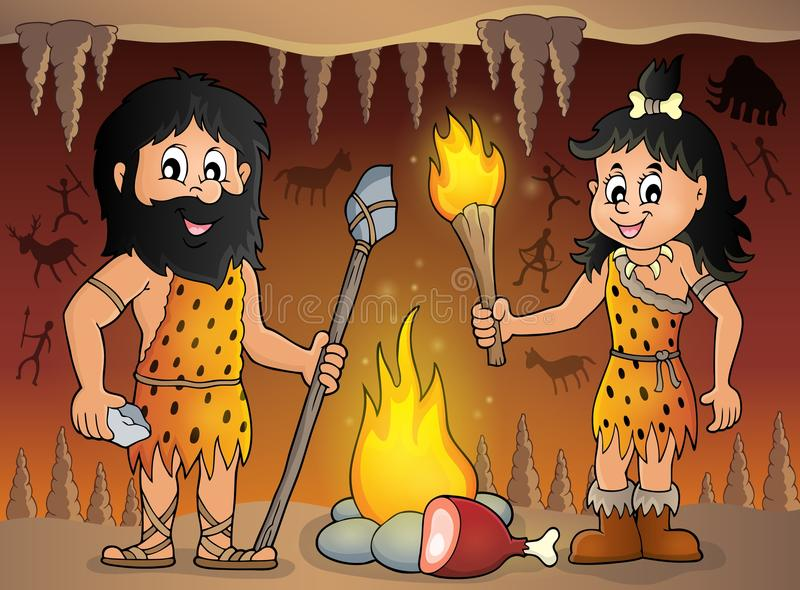 Image 1 de thème de personnes de caverne illustration de vecteur