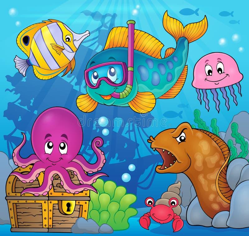 Image 3 de thème de plongeur de prise d'air de poissons illustration de vecteur