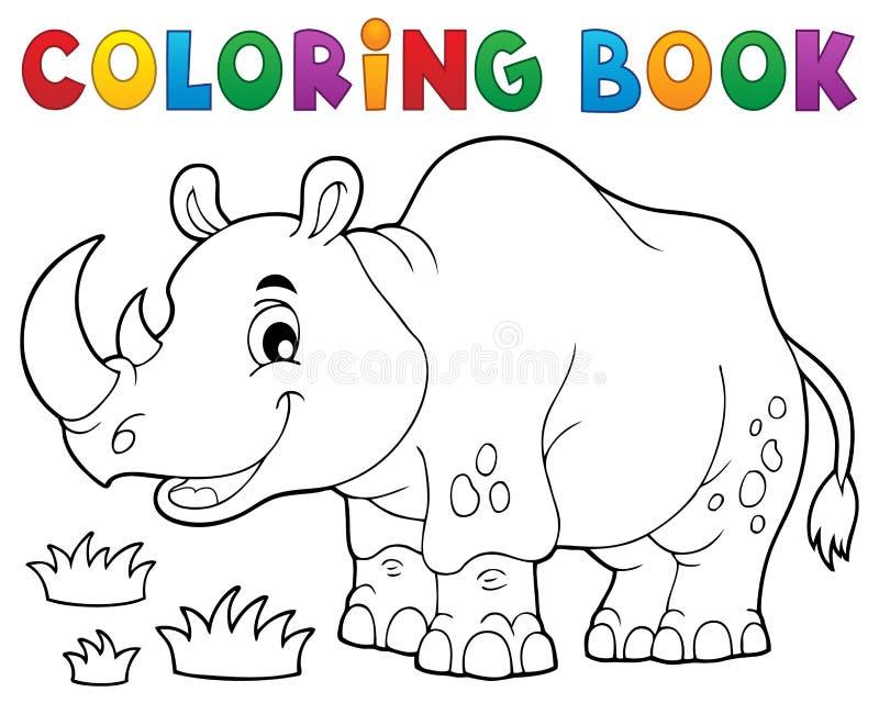 Image 1 de thème de rhinocéros de livre de coloriage illustration stock