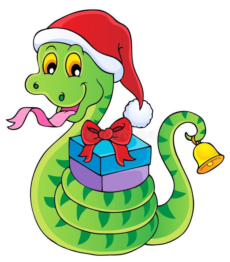 Image de thème de serpent de Noël illustration stock