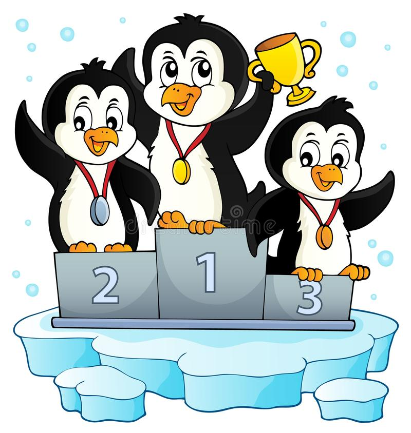 Image 2 de thème de gagnants de pingouin illustration libre de droits