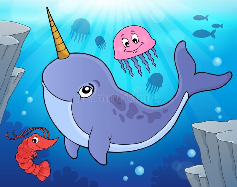 Image 2 de thème de Narwhale illustration de vecteur