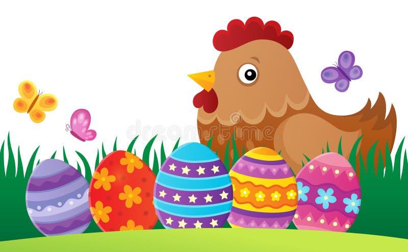Image 2 de thème de poule de Pâques illustration stock