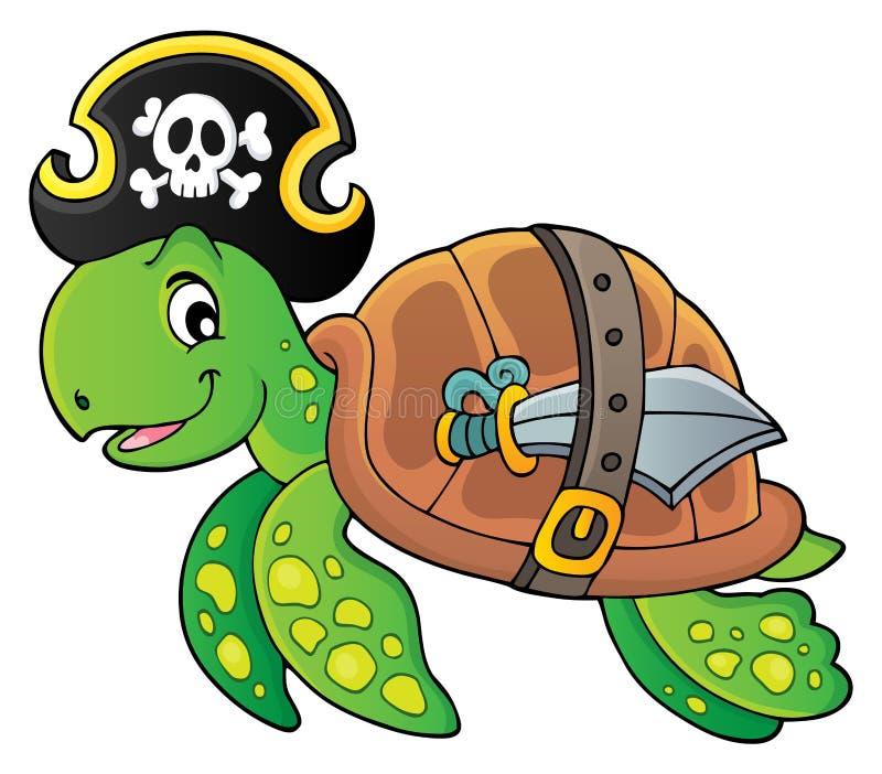 Image 1 de thème de tortue de pirate illustration libre de droits