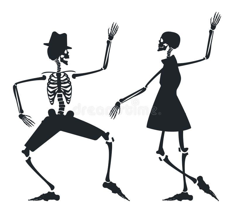 Image de vecteur avec la silhouette de couples du squelette illustration de vecteur