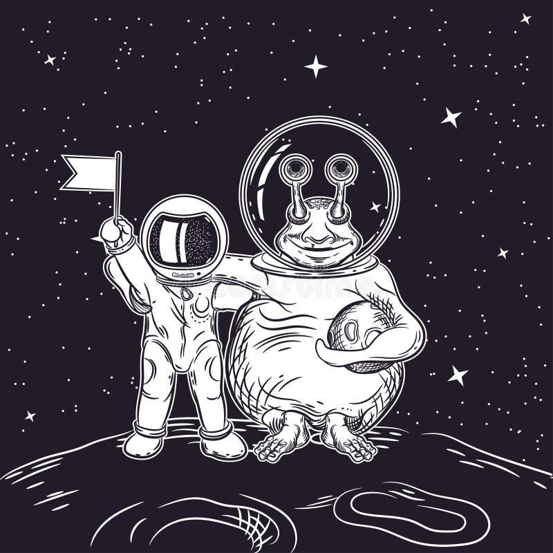 Image de vecteur d'un astronaute et d'un étranger Contact avec une civilisation extraterrestre illustration libre de droits