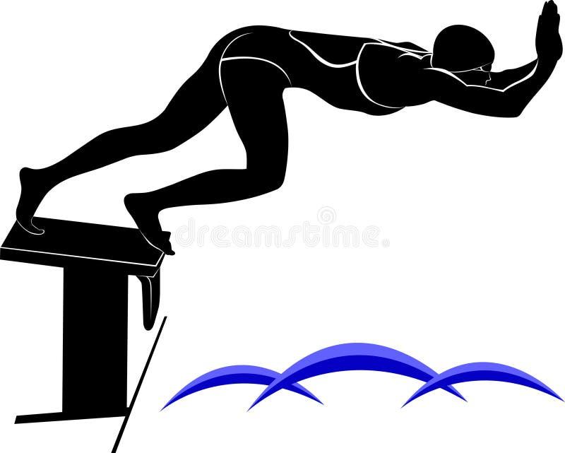 Image de vecteur d'un nageur Il est dessiné dans le style de la gravure illustration stock