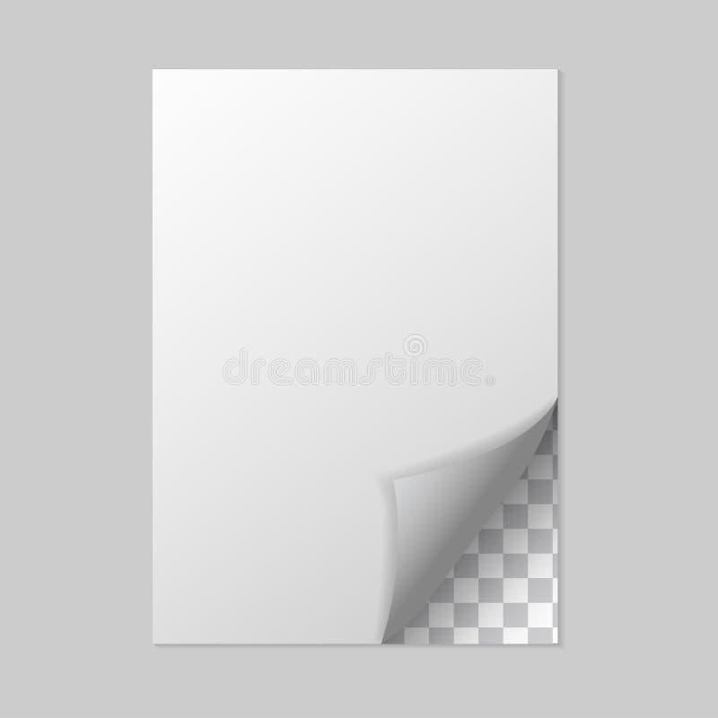 Image de vecteur d'une feuille blanche avec le bord plié Image réaliste d'une feuille d'un carnet Couches groupées pour l'édition illustration libre de droits