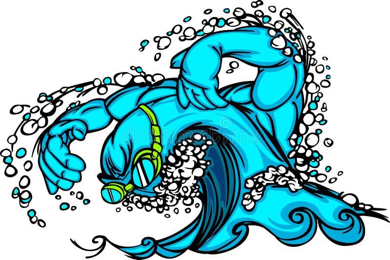 Image de vecteur de natation et d'onde de plongée illustration de vecteur