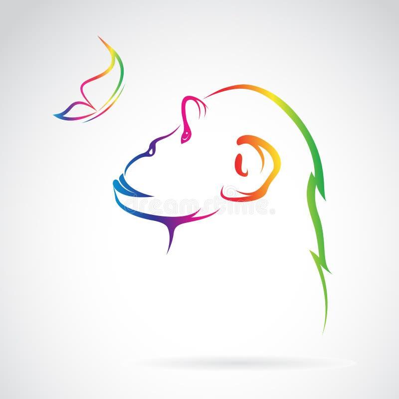 Image de vecteur de singe et de papillon illustration libre de droits