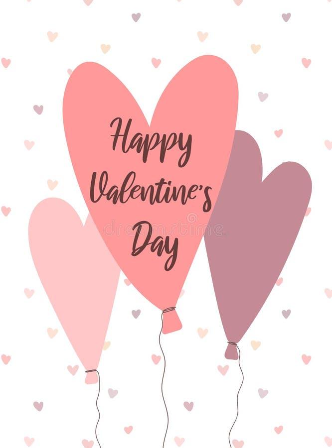 Image de vecteur des ballons en forme de coeur Illustration dans le rose et les couleurs pourpres pour la Saint-Valentin, amants, illustration de vecteur