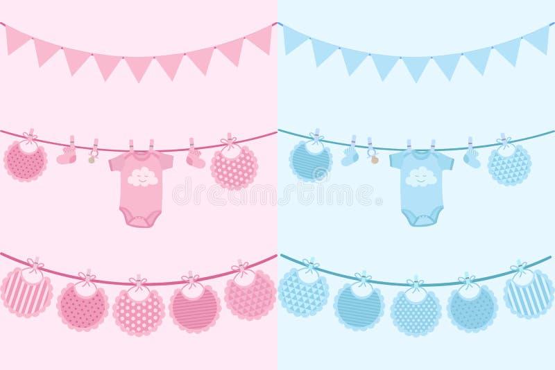 Image de vecteur des cartes d'invitation pour des nouveaux-nés sur la fête de naissance de vacances Illustration pour des garçons illustration de vecteur