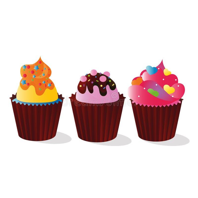 Image de vecteur des petits pains décorés de la sucrerie pour la décoration, d'une crème et d'un chocolat multicolores et colorés illustration de vecteur