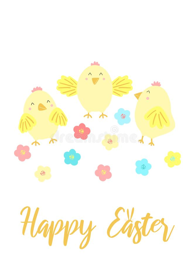 Image de vecteur des poussins et des fleurs drôles avec une inscription Illustration tirée par la main de Pâques de poulet pour l illustration de vecteur