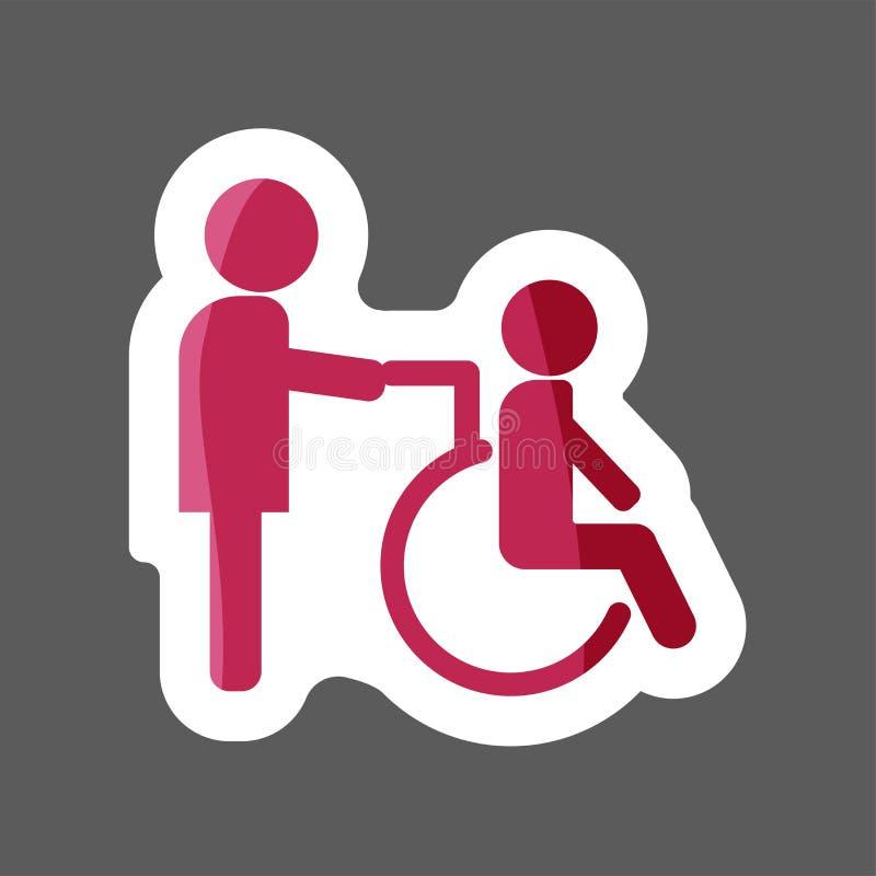 Image de vecteur de handicapé Handicapé avec l'infirmière Wheelchai illustration de vecteur