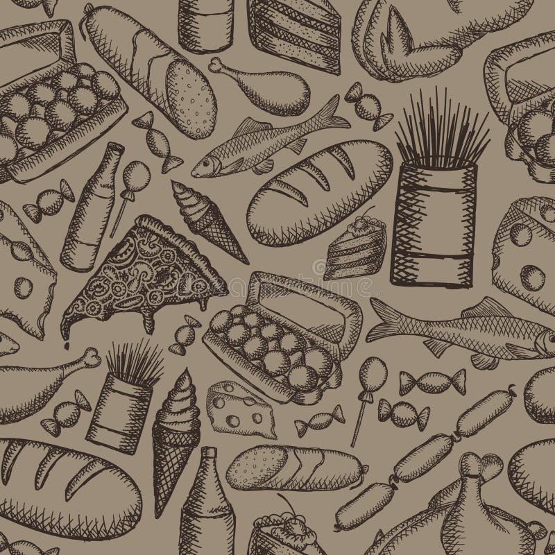 Image de vecteur de nourriture peinte sur un fond brun Modèle sans couture de cru graphique illustration libre de droits