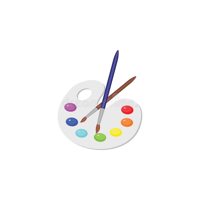 Image De Vecteur Palette De Couleurs Peintures Et Une Brosse