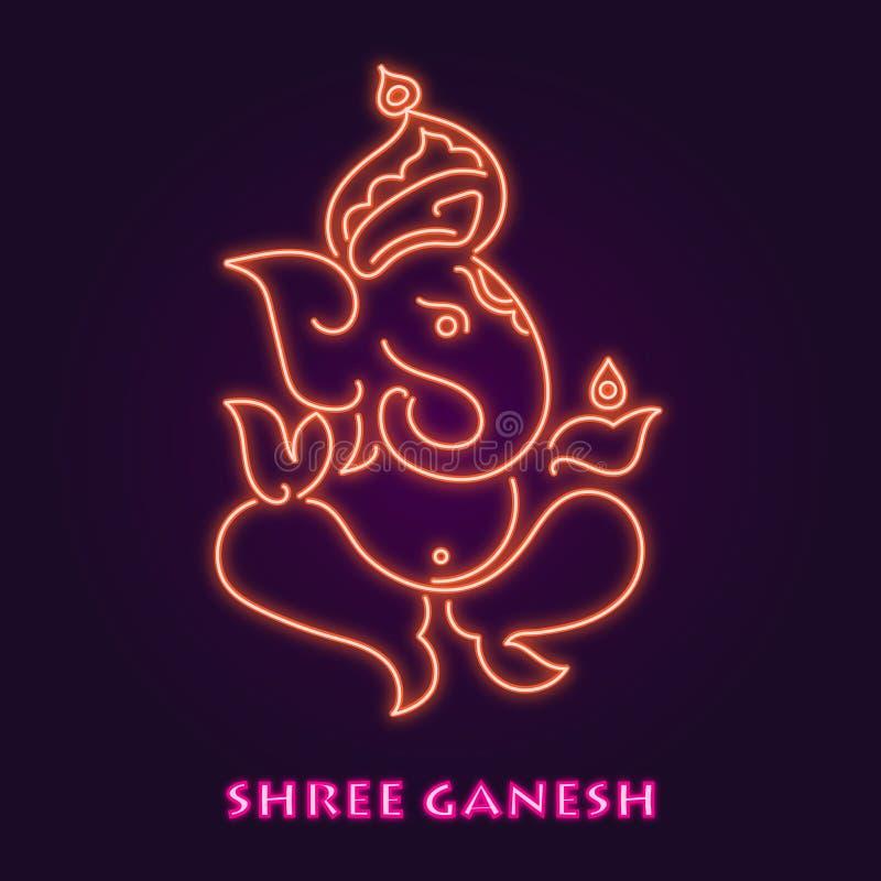 Image de vecteur de Shree Ganesha avec le style au n?on image stock