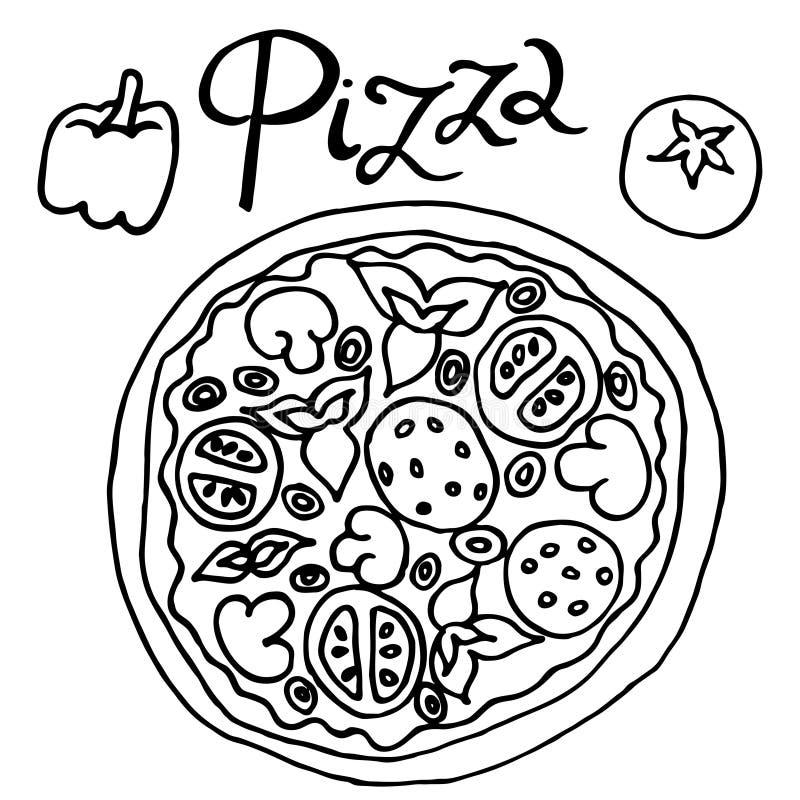 Image de vecteur simple de dessin de dessin à main levée de pizza illustration de vecteur